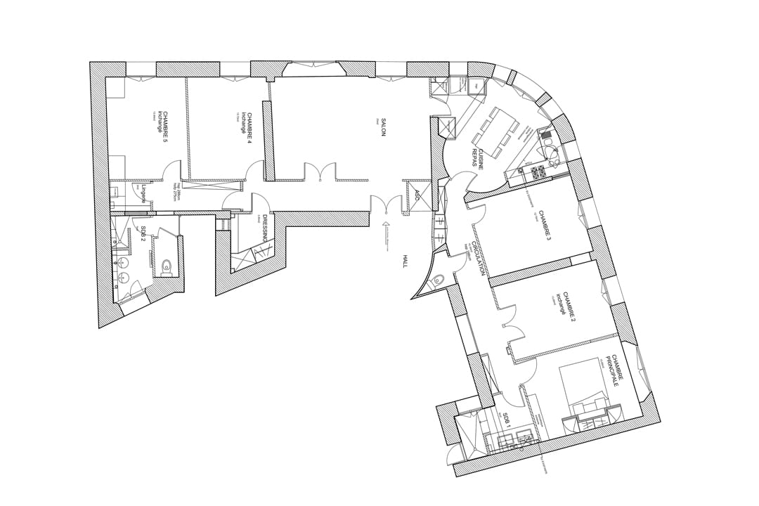 appartement haussmanien les architecteurs. Black Bedroom Furniture Sets. Home Design Ideas